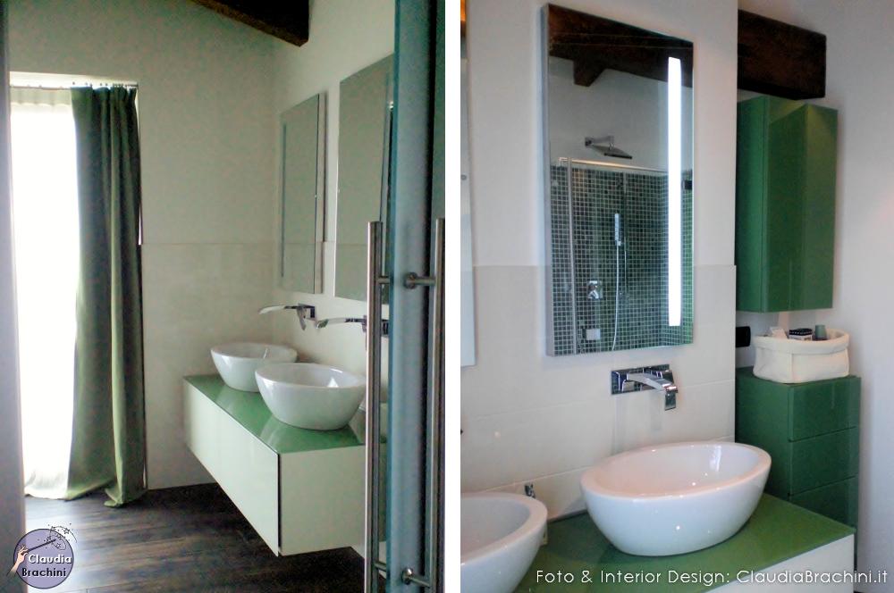 bagno in vetro bianco e verde