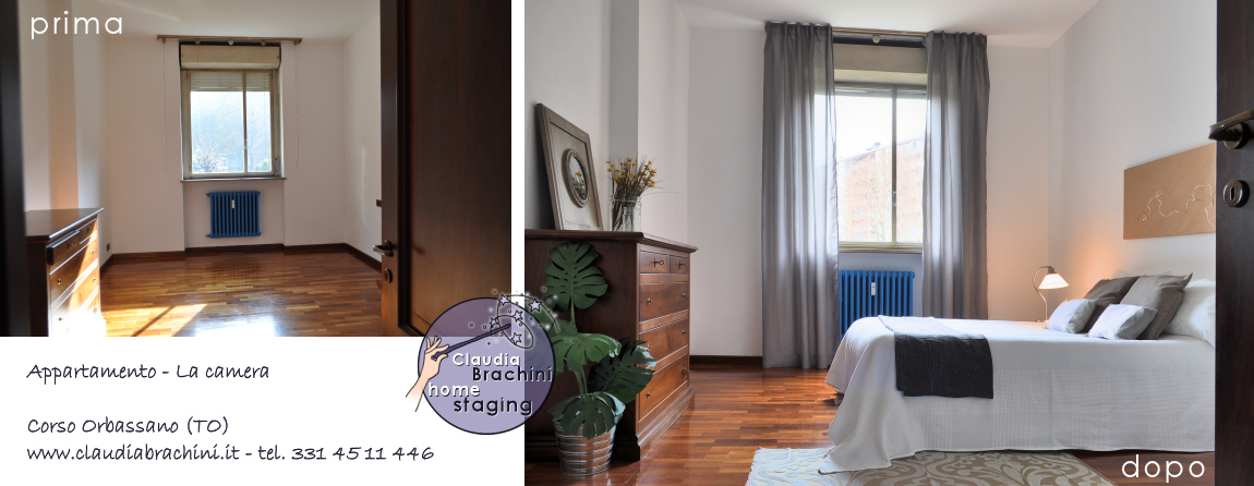 home staging camera da letto prima e dopo