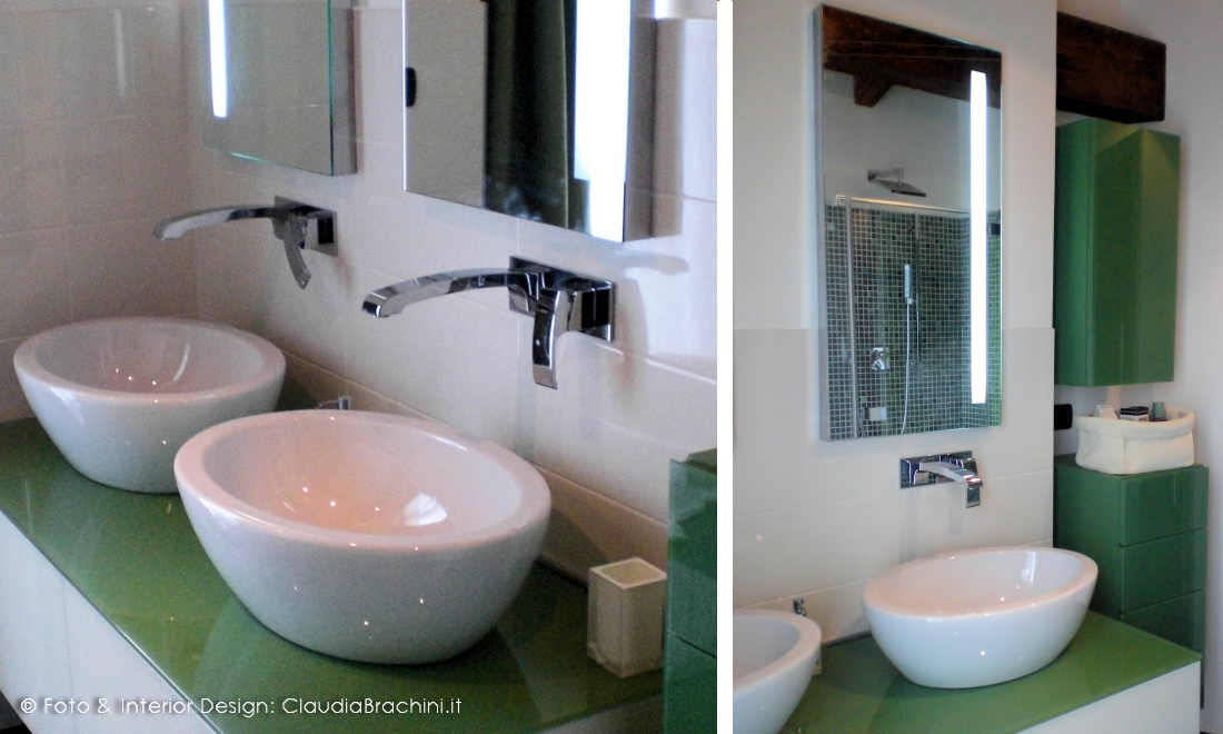 bagno di design bianco e verde in vetro