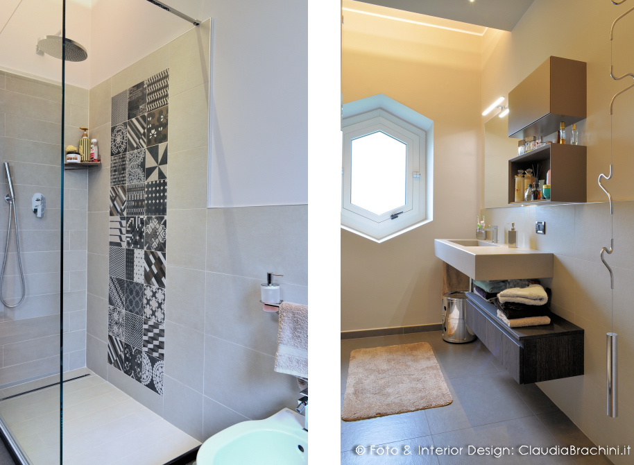 Bagno lavabo integrato resina cemento  Claudia Brachini  TORINO