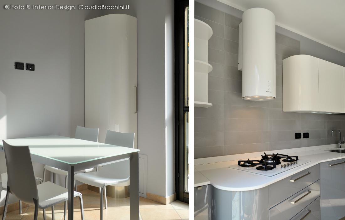 Cucina laccata lucida | elementi curvi | Claudia Brachini | TORINO