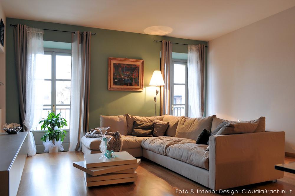 Parete Soggiorno Verde.Interior Design Soggiorni Claudia Brachini Torino