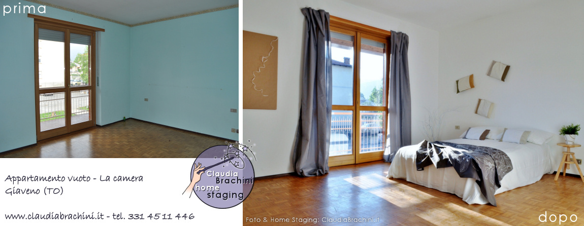 prima e dopo home staging camera