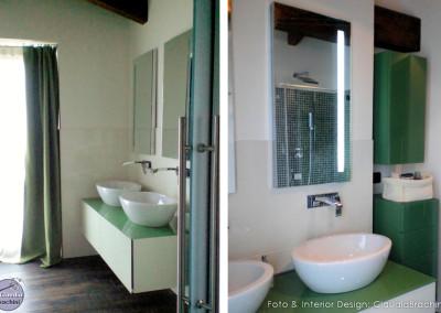 bagno bianco e verde interior design