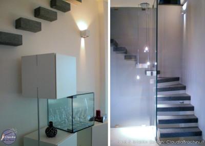 interior design scala pietra a sbalzo e vetro