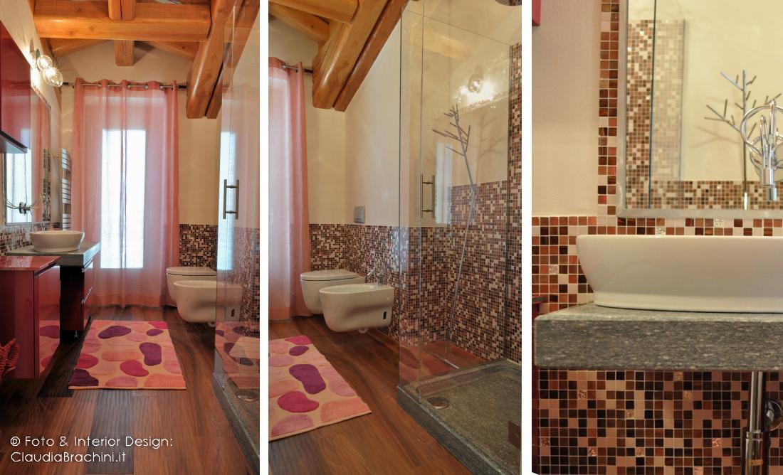 bagno mosaico fucsia e pietra di Luserna