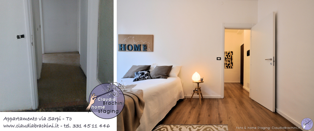 home staging casa vuota, prima e dopo camera